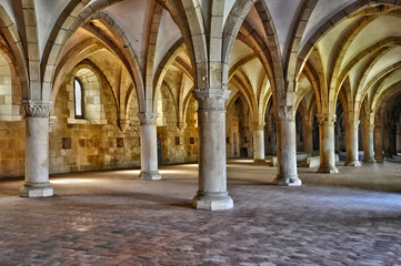 interior of Alcobaca monastery in Portugal
