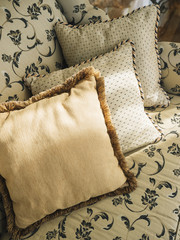Pillows on sofa with floral pattern fabric