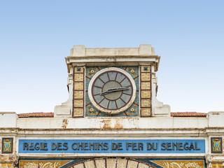 Clock, abandoned railway station of Dakar, Senegal