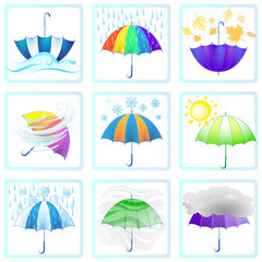Color set of different weather symbols with colorful umbrellas