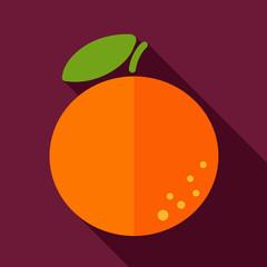 Orange flat icon with long shadow