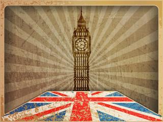 Vintage postcard: Big Ben, the flag of England