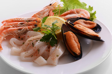 Tasty seafood on plate close-up
