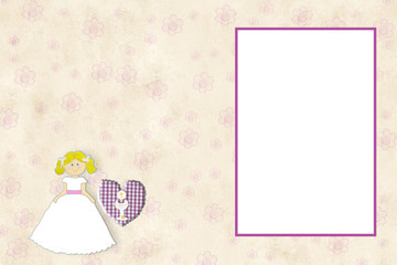 First Communion invitation card blonde girl