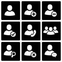 Vector black people icon set