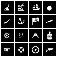 Vector black pirate icon set
