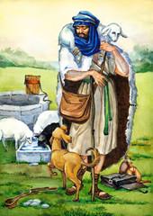 """Watercolor sketch of series """"Characters of Palestine"""". Shepherd"""