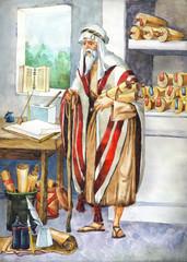 "Watercolor sketch of series ""Characters of Palestine"". Scribe"