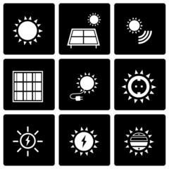 Vector black solar energy icon set