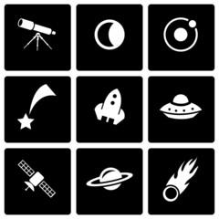 Vector black space icon set