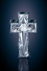 Diamond 3d cross cover design, vector illustration