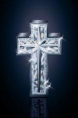 Diamond 3d cross, vector illustration