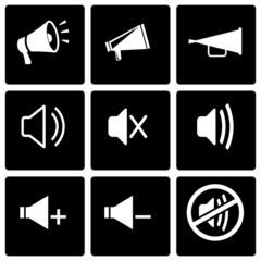 Vector black speaker icon set