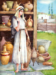"""Watercolor sketch of series """"Characters of Palestine"""". Maid"""