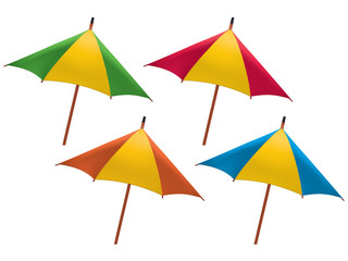 Umbrella for drink isolated. Set. Vector illustration