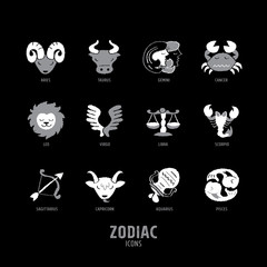 Set of 12 Zodiac Signs - freehand drawing vector illustration