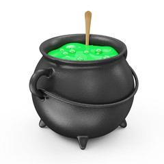 Witches Cauldron with Green Potion isolated on white background