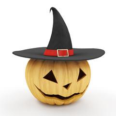Halloween Jack O Lantern Pumpkin with Witch Hat