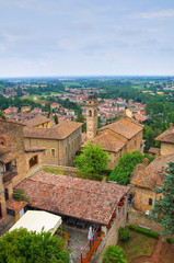 Panoramic view of Castellarquato. Emilia-Romagna. Italy.