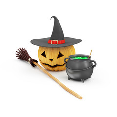 Halloween Pumpkin with Witch Hat, Broom and Witches Cauldron