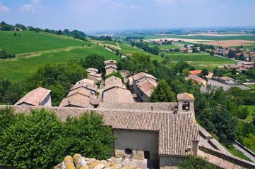 Panoramic view of Torrechiara. Emilia-Romagna. Italy.