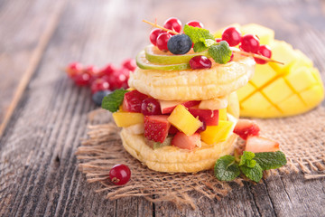 fruit salad and biscuit