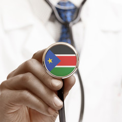 Stethoscope with national flag conceptual series - South Sudan