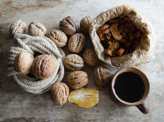 Walnuts,coffee and dried apples
