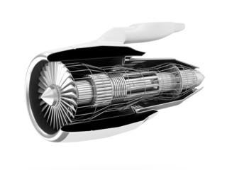 Cross Section of Modern Airplane Jet Engine Turbine