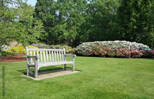 Deurstickers Azalea Bench seat in an english park in early Spring