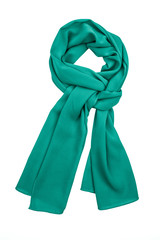 Green silk scarf isolated on white background