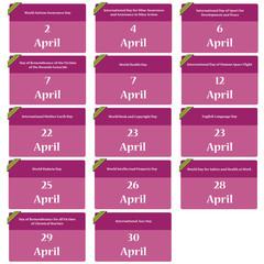 Important dates in april - reminder