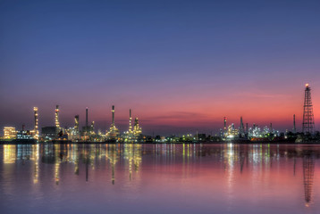 Oil refinery at twilight - petrochemical industry ,Thailand