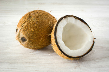 coconut on wood