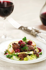 appetizing salad with beef