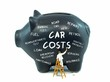 A piggy bank with car costs related words on white background - 78816840