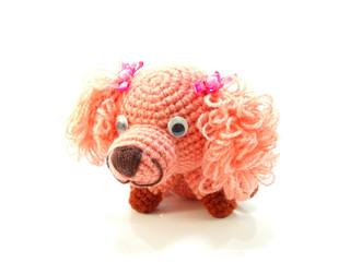 pink dog knitting doll