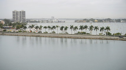 Miami Beach Causeway with Traffic