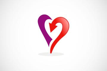 love heart arrow abstract vector logo