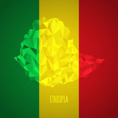 Low Poly Ethiopia with National Colors