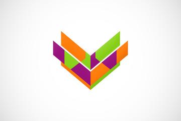 V shape construction vector logo