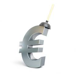 plunger euro sign on a white background