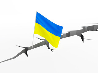 Ukraine flag falls into a crevasse on the ground