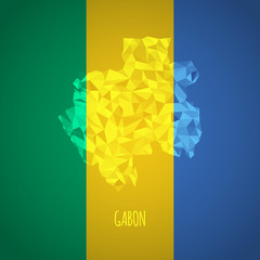 Low Poly Gabon with National Colors