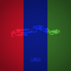 Low Poly Gambia with National Colors