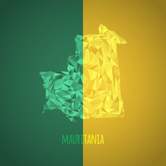 Low Poly Mauritania with National Colors