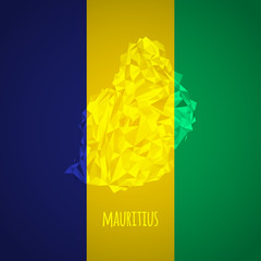 Low Poly Mauritius with National Colors