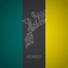 Low Poly Mozambique with National Colors