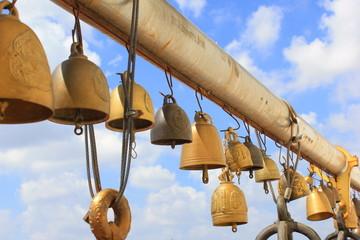 bell at buddhist temple (wat saket) in bangkok thailand