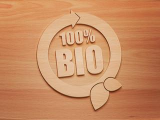 100 Prozent Bio - Holz - 3d - H